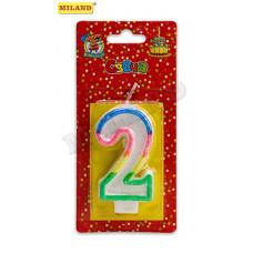 Свеча для торта с разноцветной окантовкой с блестками Цифра 2