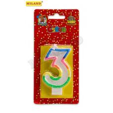 Свеча для торта с разноцветной окантовкой с блестками Цифра 3