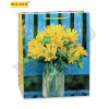 Пакет подарочный с глянцевой ламинацией 26,4х32,7х13,6 см (L) Желтые цветочки в вазе, 157 г
