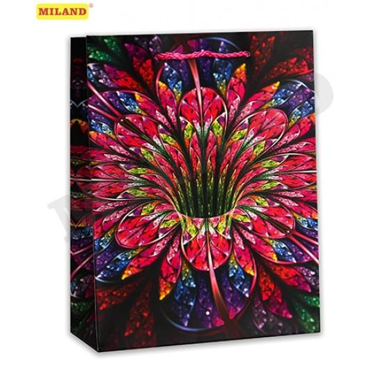Dream cards Пакет подарочный с матовой ламинацией 42х31х12 см (XL) Яркий цветок. 210 г