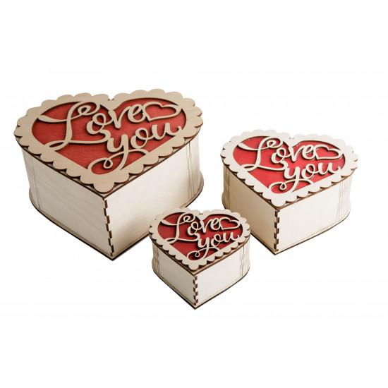 "Набор из трёх шкатулок ""Сердце"" (Love you)"